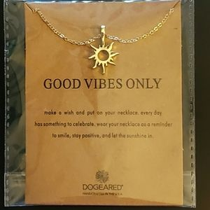 Gold Sun Necklace with Good Vibes Only Quo…